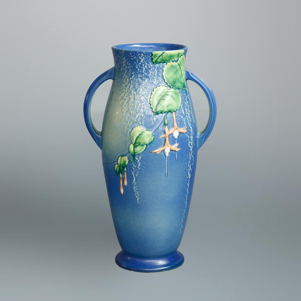 Antique Roseville Fuschia Art Pottery Handle Vase c1930
