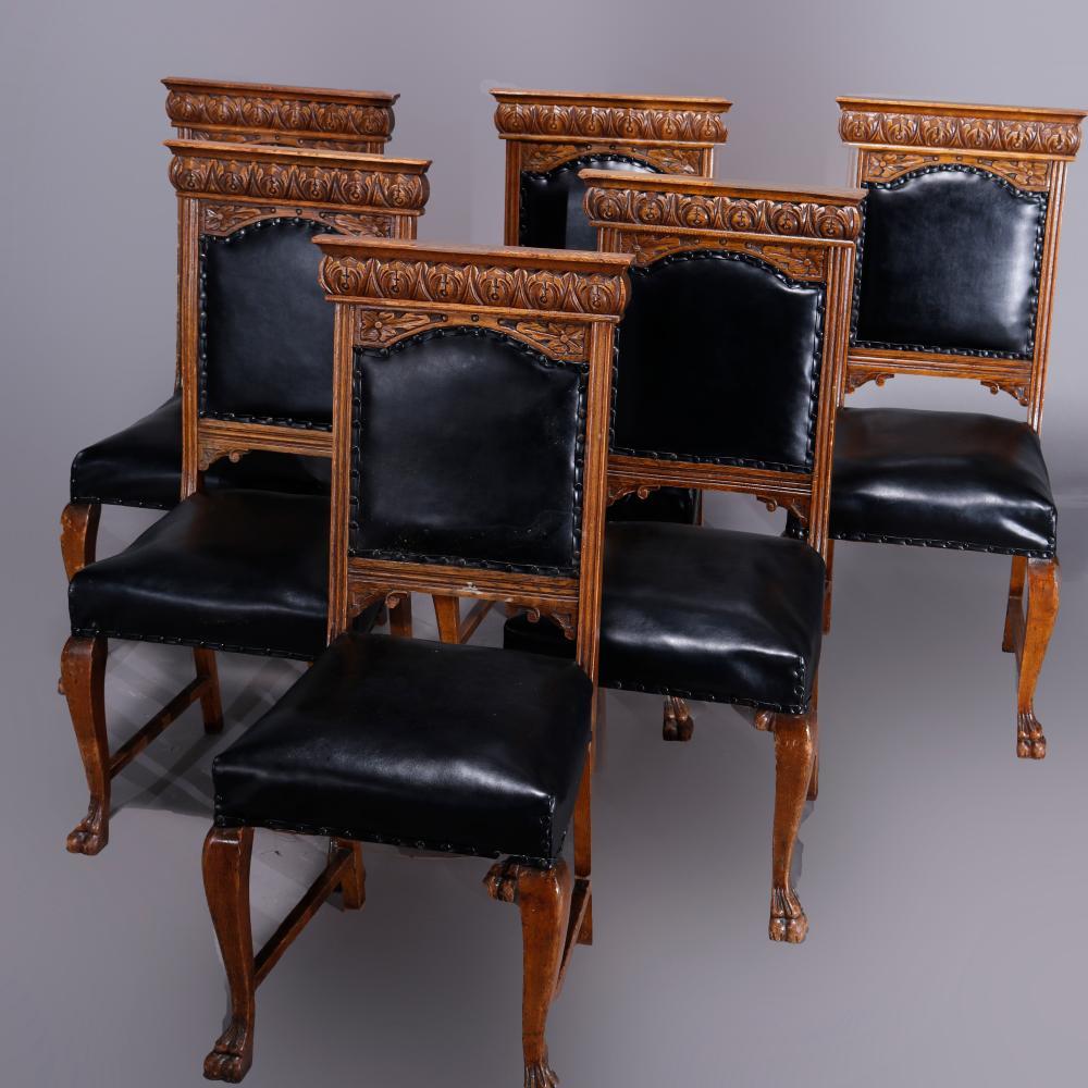 6 Antique RJ Horner School Carved Oak Tall Back Chairs