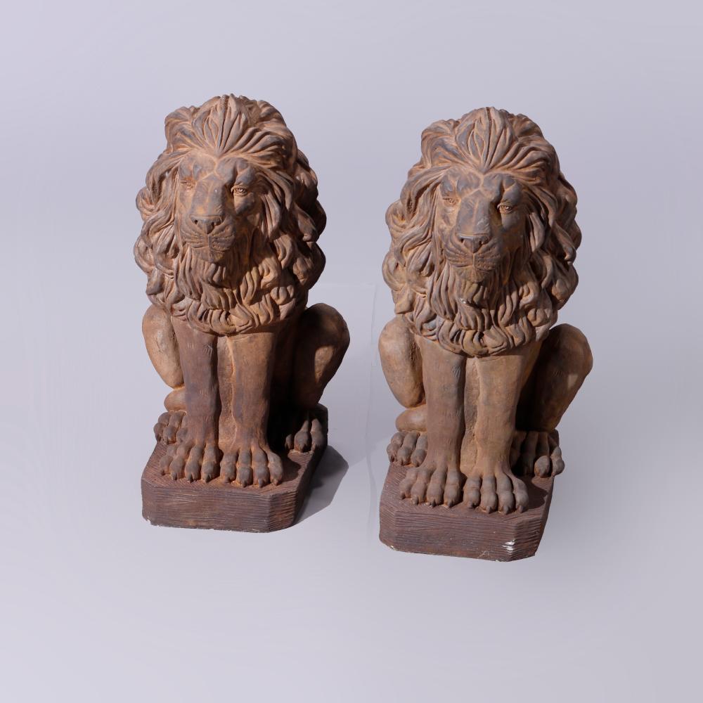 Cast Hard Stone Classical Lion Garden Statues, Bronzed