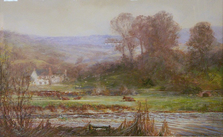 Robert William Sampson, watercolour, 'On The River