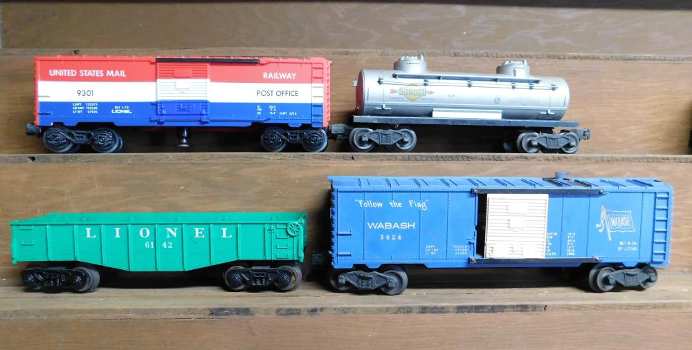 Lot of 4 cars--Lionel US Railway post office, Sonoco, Lionel 6142, and Lionel WABASH 3424