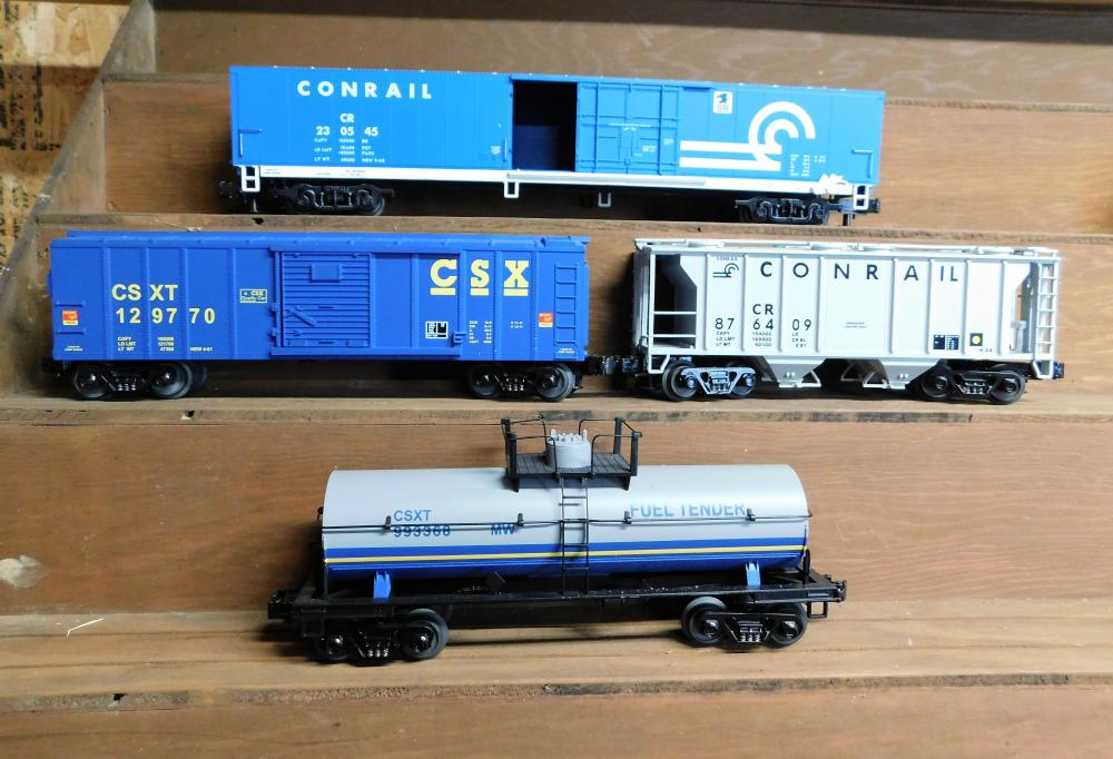 Lof of 4 MTH Conrail cars--US Mail, Fuel Tender