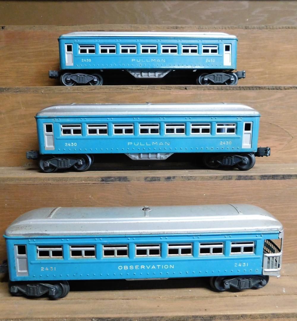 Lof of 3 Pullman cars-2430, 2430, 2431
