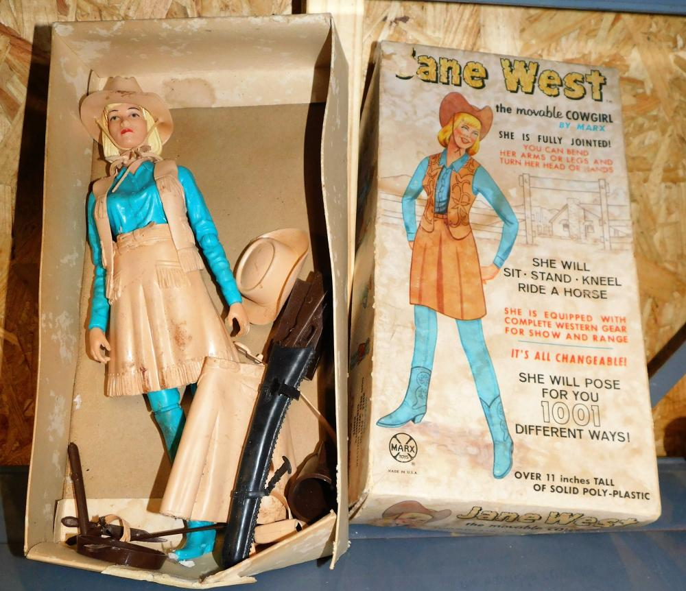 Marx Jane West moveable cowgirl in box with accessories