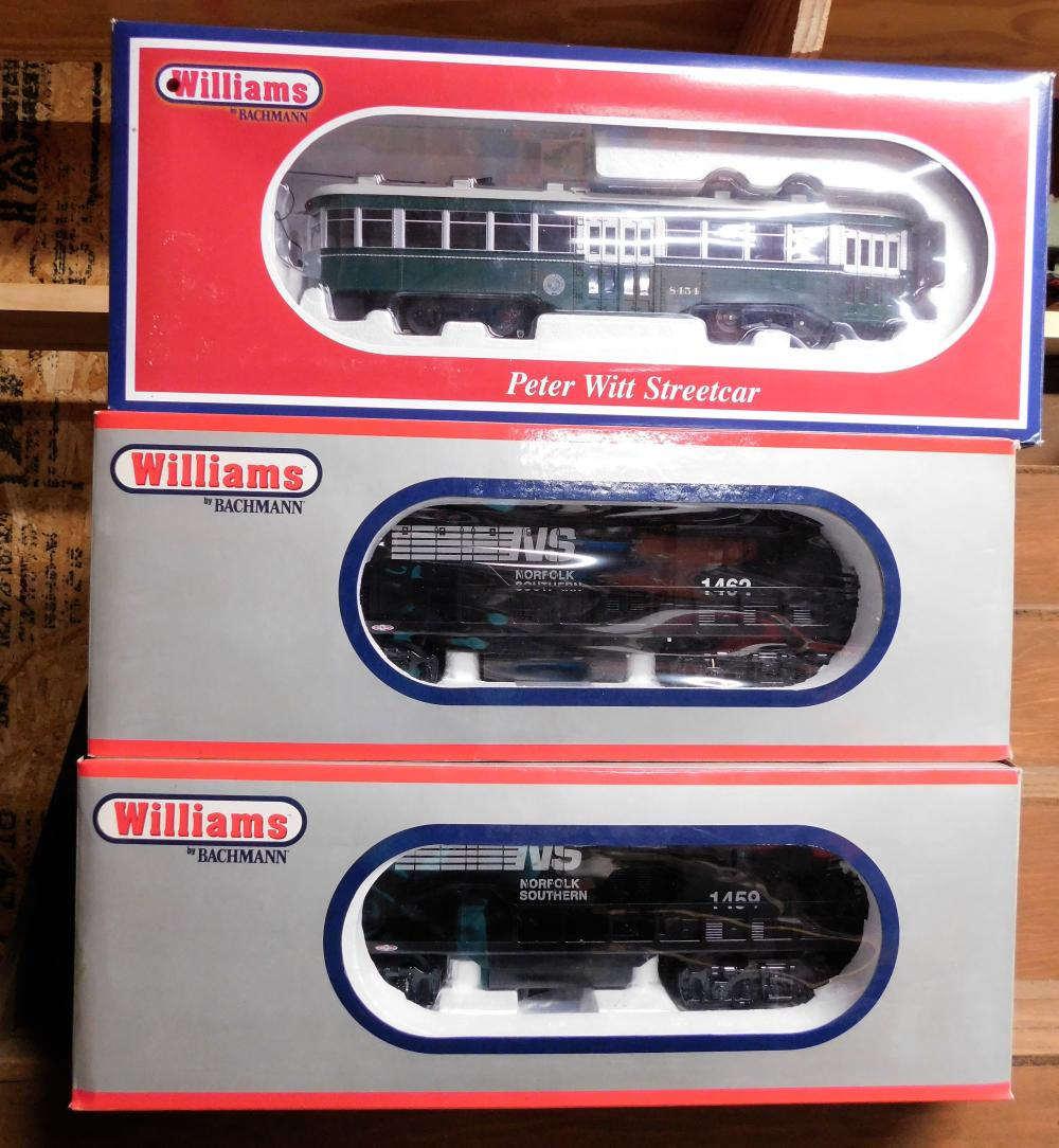 Williams by Bachman GP-9 Powerd locomotive, GP-9 Dummy Locomotive, and Peter Witt street car