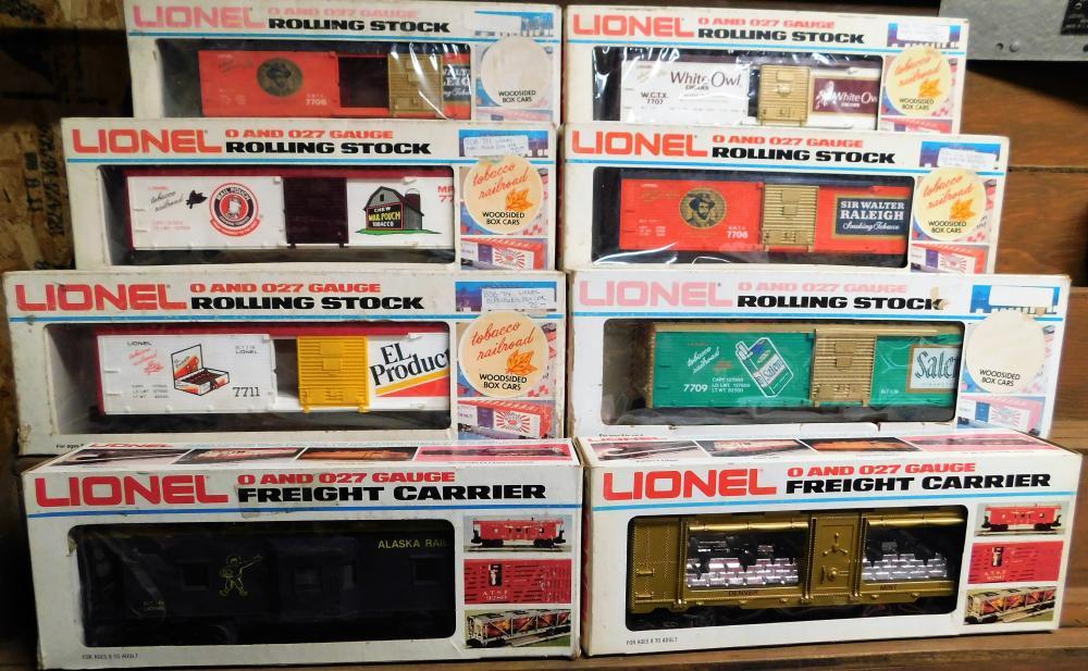 Lot of 8-Lionel cars-6 tobacco railroad, 1 Alaska railroad, and Denver mint