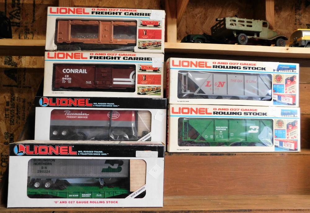 6 Lionel cars 6-7517, 6-16308, 6-9400, 6-16335, 6-6111, 6-6101