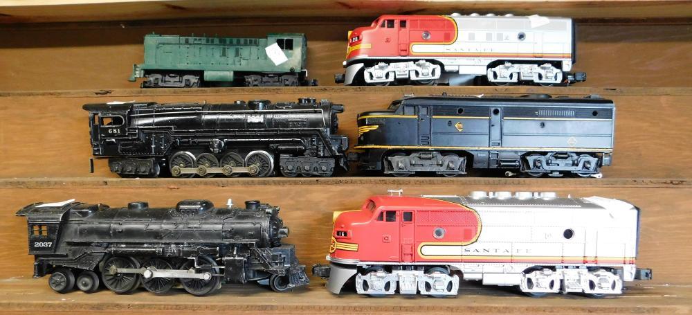 6 Engines Lionel 2037, 681, Santa Fe 28, Green Engine, Santa Fe 16, 2032