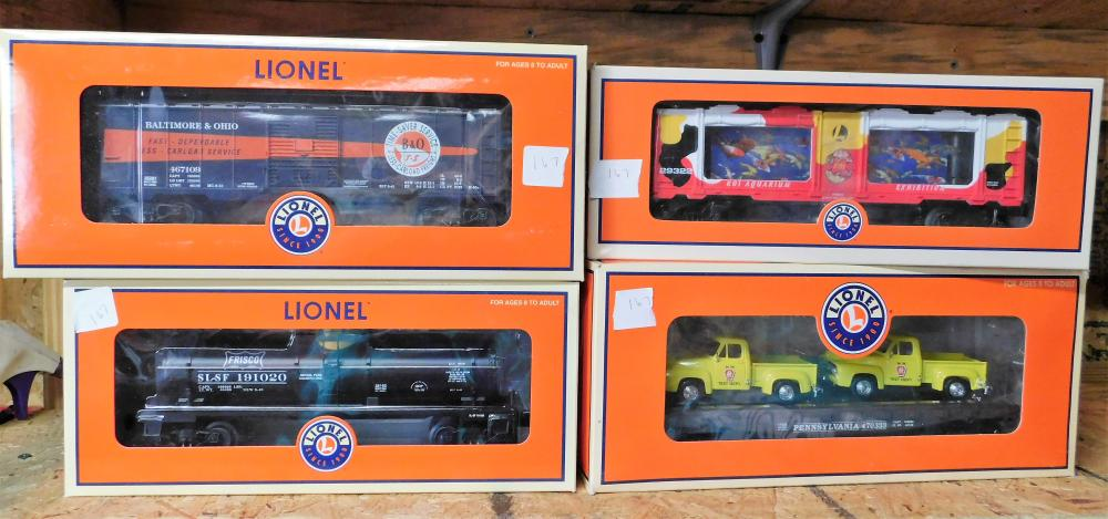 4 Lionel cars 6-36281 B&O, 6-26162 Frisco, 6-29322 KOIA Aq, and 6-17568 PA Flat w/cars.