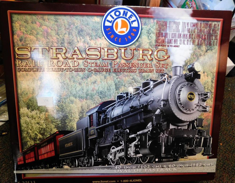Lionel strasburg railroad steam passenger set, 40 in x 60 inches. 630133.