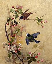attributed to Fidelia Bridges - Song Birds and Apple Blossoms