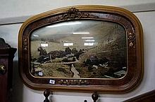 Antique dome glass & gilt framed photo of rural