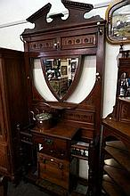 Late Victorian carved walnut hallstand