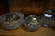 Crystal bowl, biscuit barrell & ice bucket