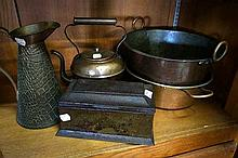 Copper crocodile skin jug, 2 pans & kettle