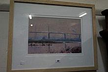 Oil painting, West Gate Bridge by Peter smales