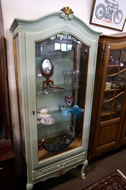 vintage french painted vitrine. Black Bedroom Furniture Sets. Home Design Ideas