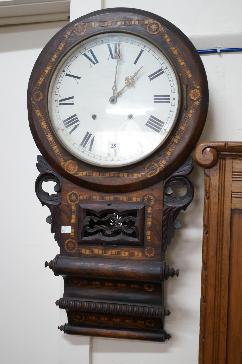 C19th American inlaid walnut drop dial regulator wall clock 77 cm high