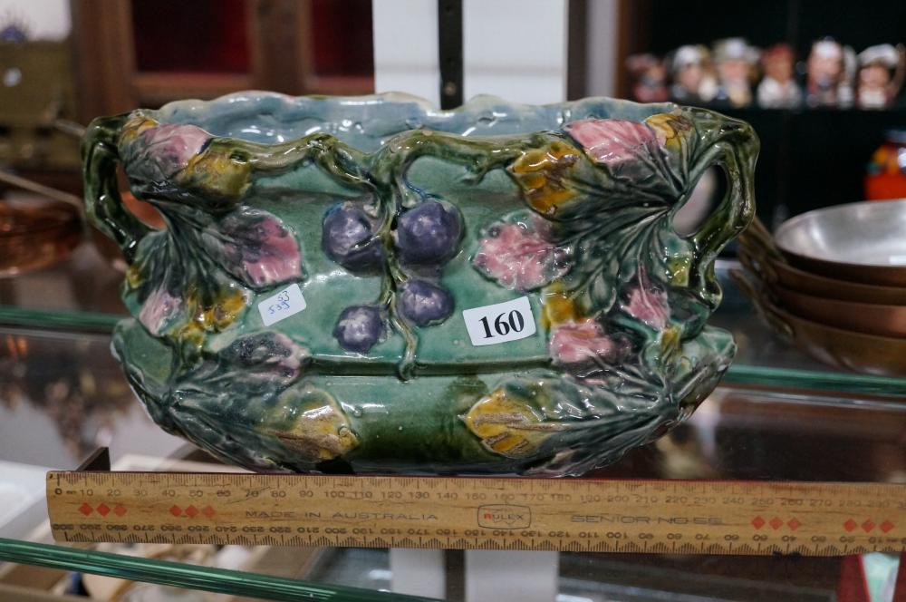 C19th French majolica jardiniere stamped HBT on base 30 cm wide