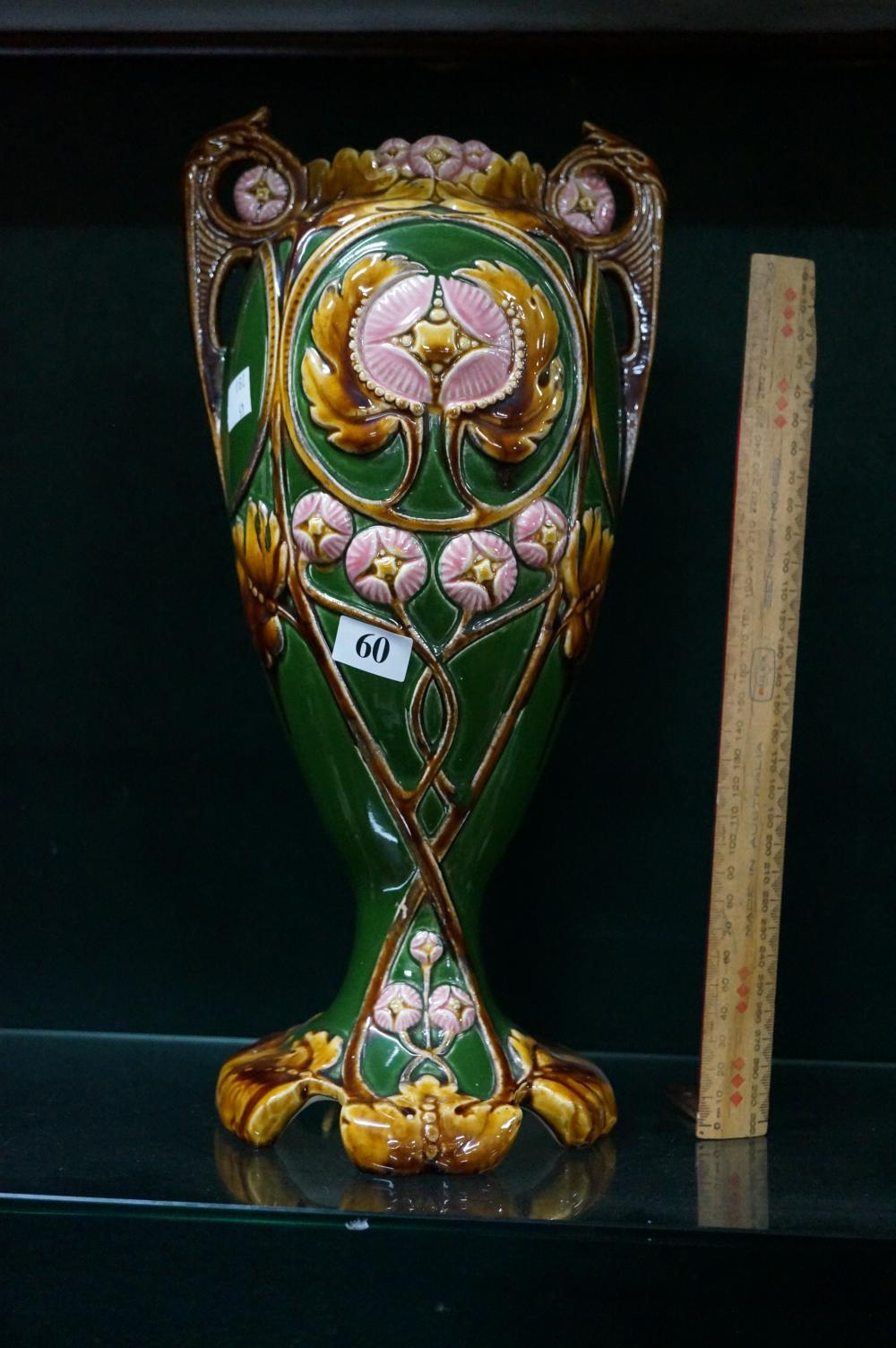 C19th majolica vase 37 cm high