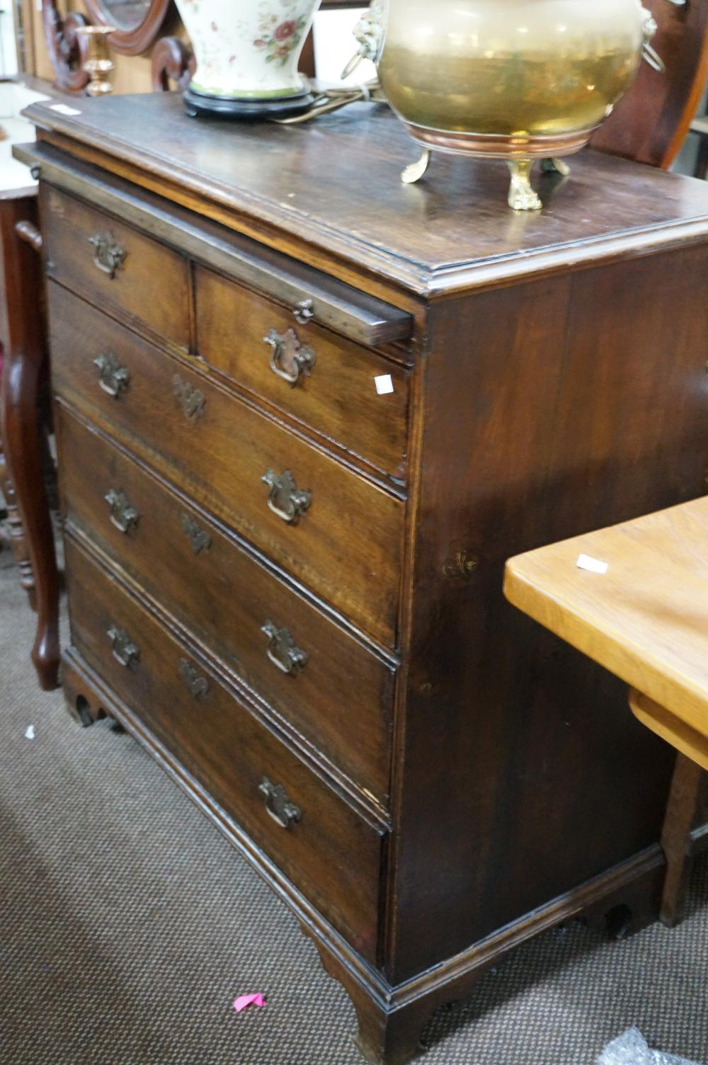 George III country oak 5 drawer chest with brushing slide 94 w x 48 d x 103 cm high