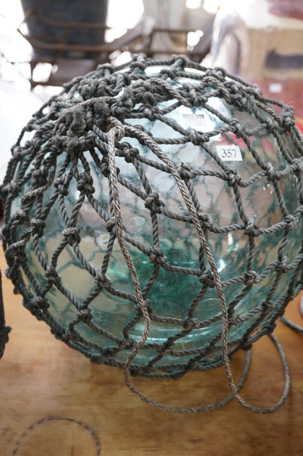 Vintage blue glass fishing float 30 cm wide