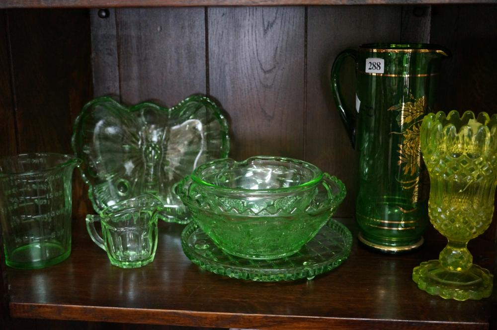 Collection of uranium & green glass ware