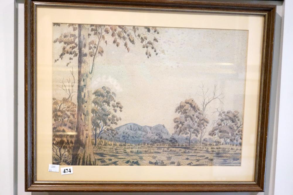 Walter Ebaterinja, Watercolour & pencil, landscape 31 x 43 cm
