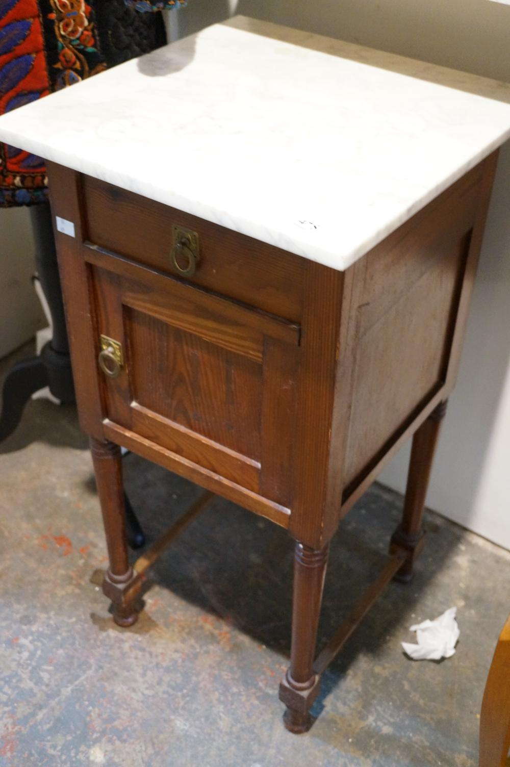 Antique French pitch pine marble top bedside cabinet