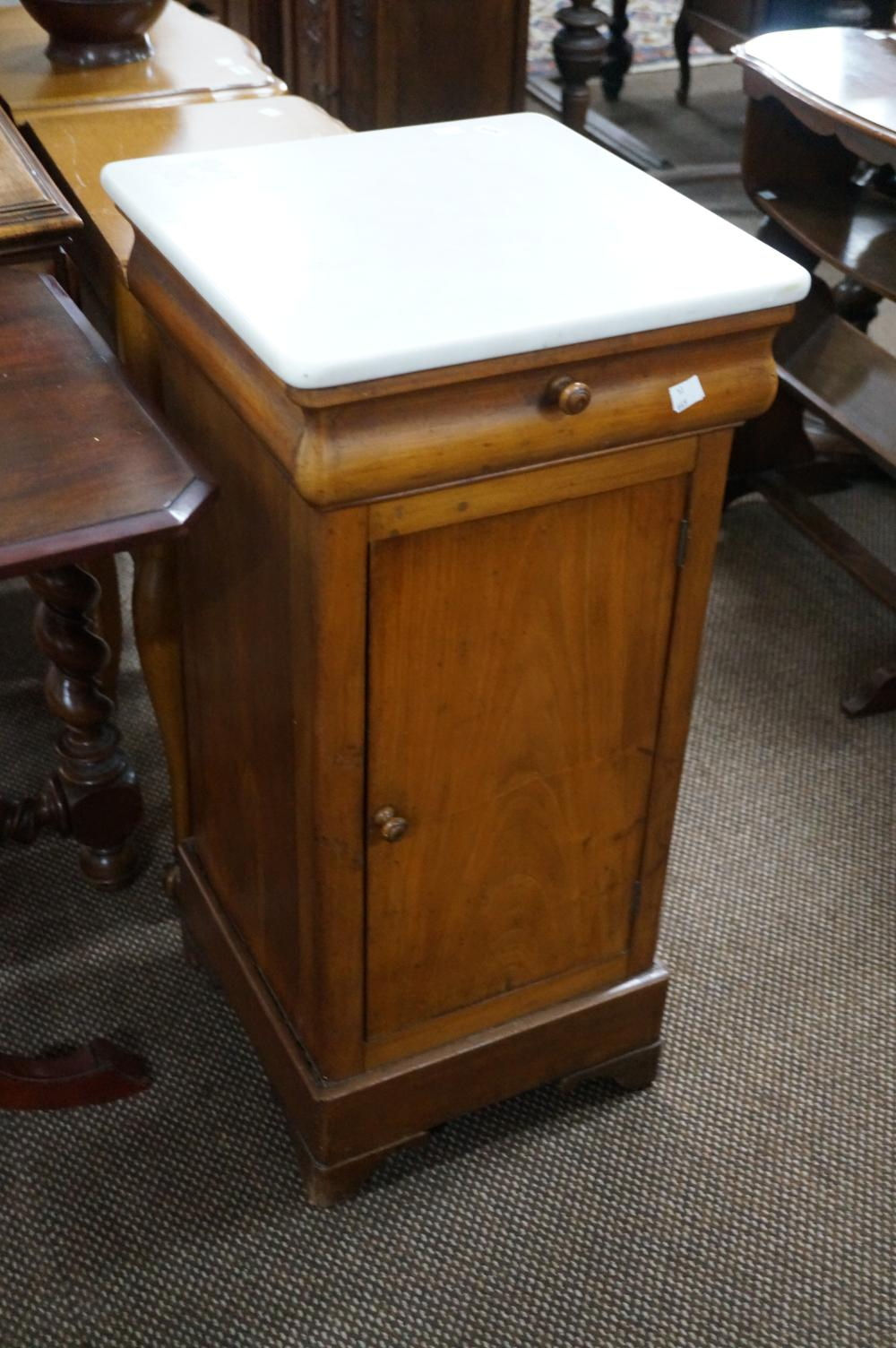 C19th French satin walnut marble top bedside cabinet