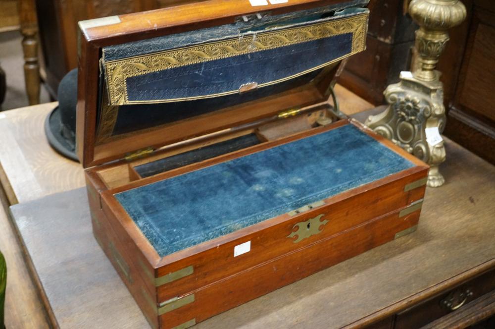 Early Vic mah & brass bound fold out writing box, 46 w x 25 d x 16 cm high