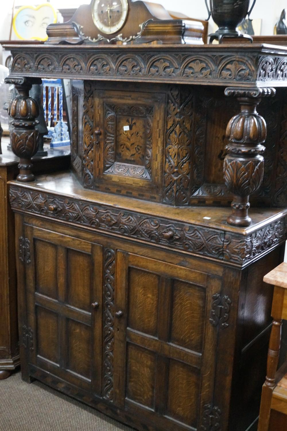 Antique carved & inlaid oak court cupboard in the Elizabethan style 122 w x 48 d x 167 cm high