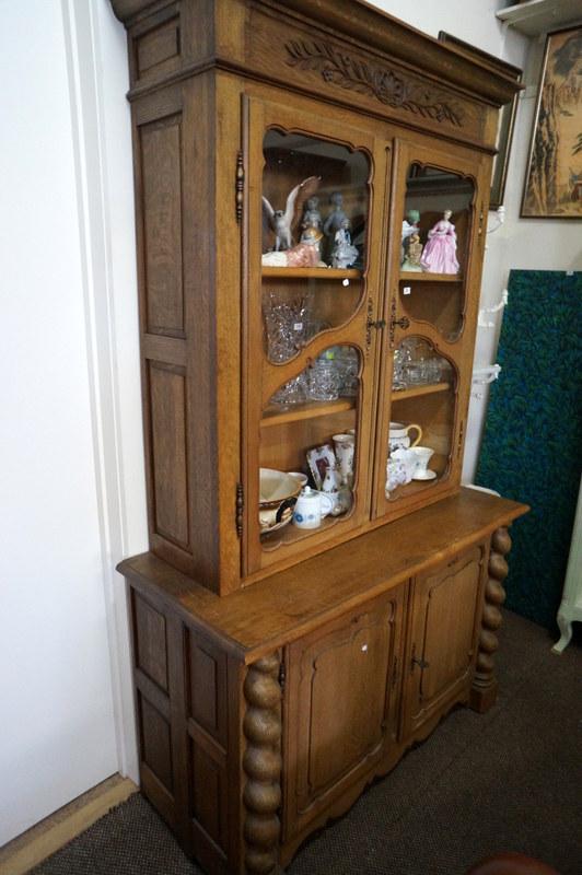 French carved oak barley twist glazed top kitchen cabinet for Carved kitchen cabinets