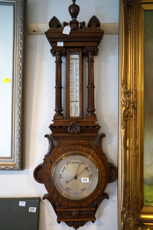 Victorian Ornate Carved Oak Aneroid Wall Barometer