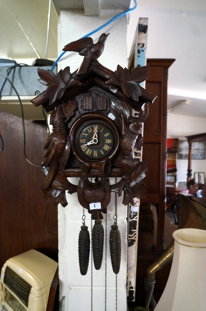 Early C20th Unusual Black Forest 3 Weight Cuckoo Clock With