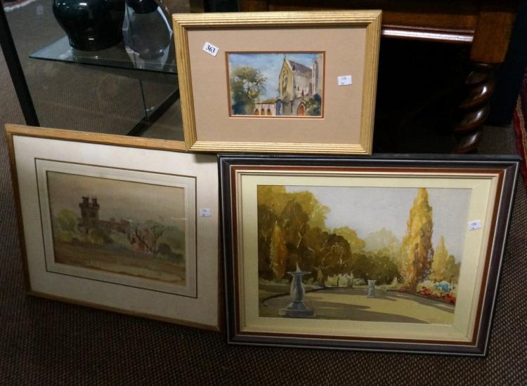 3 watercolours of garden scenes by Cyril Dillon & Len Annois & church by El
