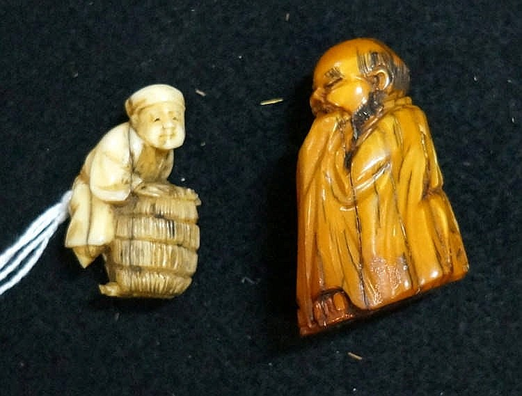 Antique Japanese netsuke of man with basket (legs missing) & figure