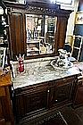 French carved oak marble & mirror back washstand