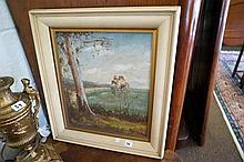 Oil painting Australian landscape beach scene,