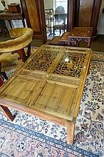 Chinese panelled glass top coffee table made from