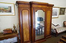 Victorian cedar breakfront 3 door wardrobe fitted