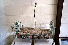 Victorian cast iron & brass folding dolls bed