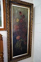 Large late C19th oil on canvas of bunch of flowers