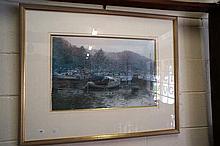 Watercolour, cornwall harbour scene by Joseph