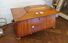 Early C19th satinwood sargophagus shaped box