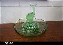 Deco green depression glass fish float bowl
