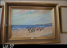 Oil painting, Beach scene by Donald Fraser