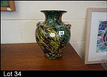 Large gold speckled multi coloured Art glass vase