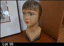 Art Deco plaster bust of flapper