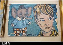 Oil painting, boy with toy elephant by David